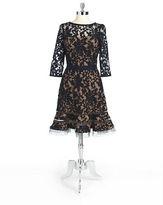 Tadashi Shoji Three-Quarter Sleeved Lace Dress