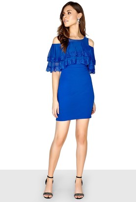 Girls On Film Outlet Cobalt Frill Bodycon