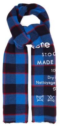 Acne Studios Cassiar Logo-print Checked Wool Scarf - Mens - Navy Multi