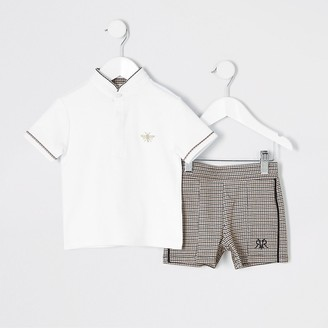 River Island Mini boys white polo and shorts outfit