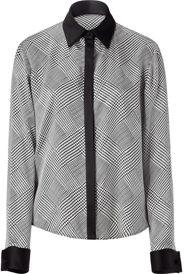 Salvatore Ferragamo Black and white houndstooth print silk top
