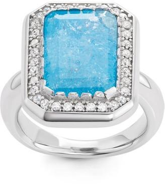 La Preciosa Sterling Silver Large Ice CZ Rectangular Ring