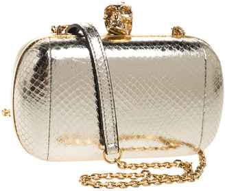 Alexander McQueen Metallic Gold Python Embossed Leather Skull Box Clutch