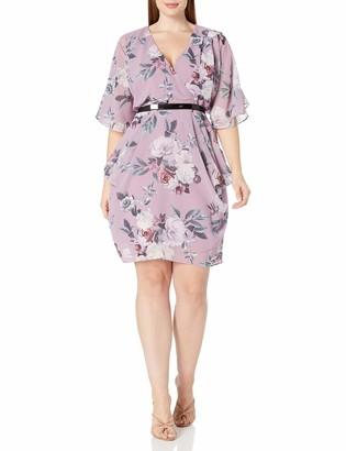 City Chic Women's Apparel Women's Plus Size Faux wrap Necked Dress with Hip Drape and Belt Detail