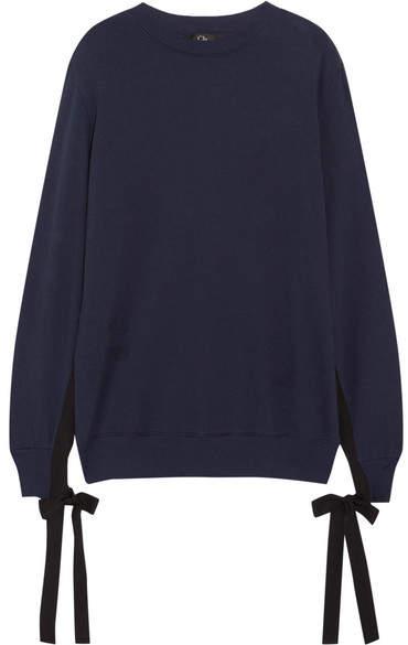Clu Grosgrain Bow-embellished Cotton-jersey Sweatshirt - Navy