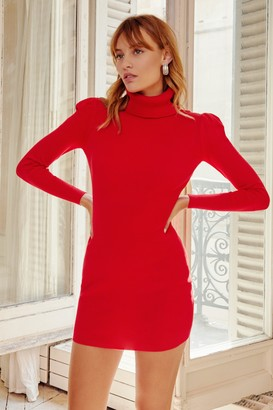 Nasty Gal Womens Puff Act to Follow Turtleneck Mini Dress - Red - L