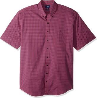 Cutter & Buck Men's Big & Tall Short Sleeve Anchor Gingham Button Up Shirt