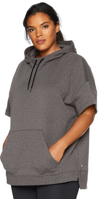 Core Products Amazon Brand - Core 10 Women's Plus Size Motion Tech Fleece Relaxed Fit Short Sleeve Sweatshirt Hoodie
