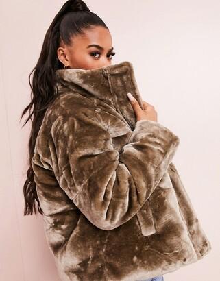 ASOS DESIGN plush faux fur puffer jacket in mink