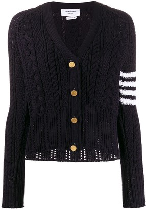 Thom Browne 4-Bar cable-knit cardigan