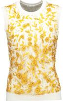 Oscar de la Renta Embellished Wool, Silk And Cashmere-Blend Sweater