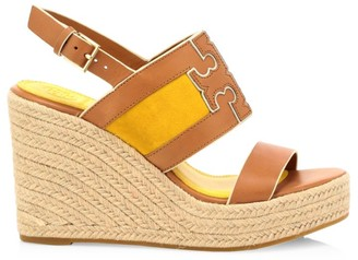 Tory Burch Ines Leather Platform Espadrille Slingback Wedges