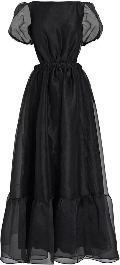 STAUD Penelope Organza Puff Sleeve Dress