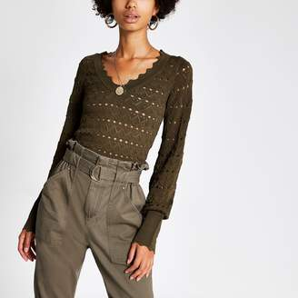 River Island Womens Khaki knitted long sleeve V neck crop top