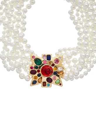Kenneth Jay Lane 22K Plated Multicolor Ruby Glass Faux Pearls Eight-Row Necklace