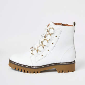 River Island White leather eyelet lace-up wide fit boots
