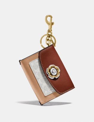 Coach Mini Parker Bag Charm In Colorblock Signature Canvas With Snakeskin Detail