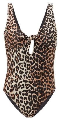 Ganni Tie-front Leopard-print Swimsuit - Leopard
