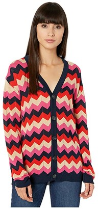 M Missoni Zigzag Stitch Button Front Cardigan (Navy) Women's Clothing