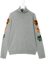 Chloé Kids - flower patch turtleneck sweater - kids - Cotton/Polyamide/Wool - 14 yrs