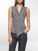 Calvin Klein Brushstroke Sleeveless Tie-Neck Top