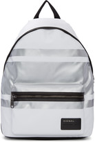 Diesel White and Silver Iron Backpack