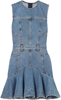 Alexander McQueen Striped Grosgrain-trimmed Denim Mini Dress