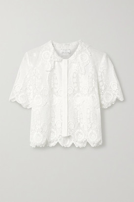 Miguelina Zola Cropped Crochet-trimmed Cotton And Linen-blend Top - White