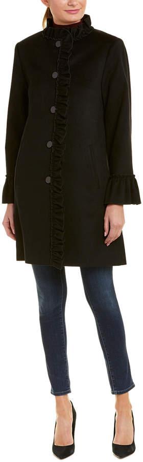 Sofia Cashmere sofiacashmere Sofiacashmere Ruffle Wool-Blend Coat