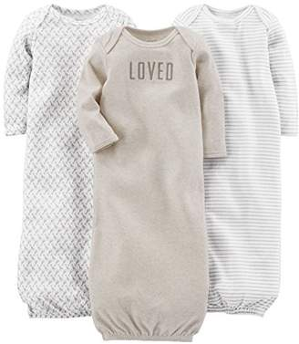 Carter's Simple Joys by 3-pack Neutral Cotton Sleeper Gown Nightgown,0-3 Months