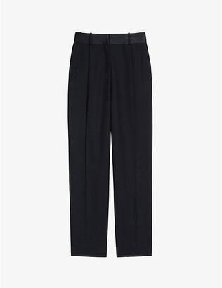 Sandro Pelya satin-trimmed wool-blend straight trousers