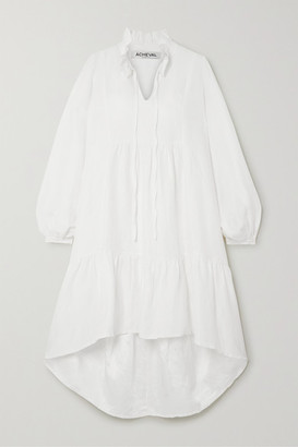 ÀCHEVAL PAMPA Campo Asymmetric Linen And Silk-blend Midi Dress - White