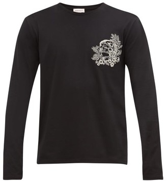 Alexander McQueen Skull-embroidered Cotton-jersey T-shirt - Mens - Black Multi