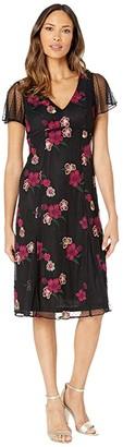 Adrianna Papell Floral Embroidery Boho Dress (Purple Multi) Women's Dress