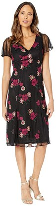 Adrianna Papell Floral Embroidery Boho Dress