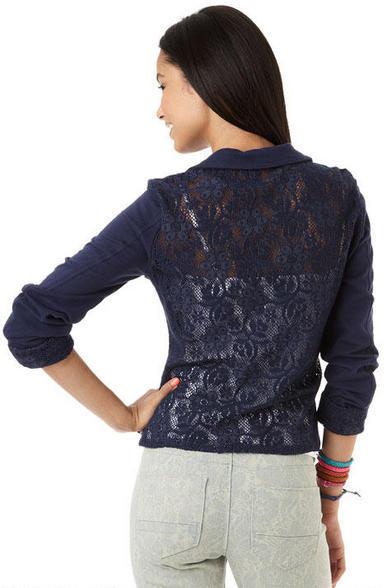 Delia's Crochet Back Blazer