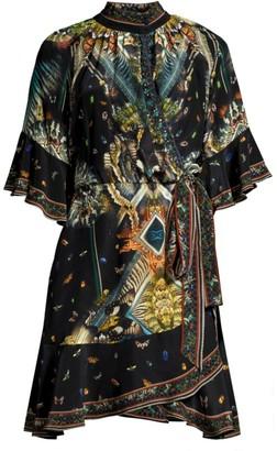 Camilla Mixed Print Silk Wrap Dress