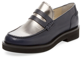 Jil Sander Navy Leather & Metallic Leather Penny Loafer