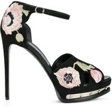 Alexander McQueen poppy embroidered hobnail sandals - women - Leather/Suede - 35.5