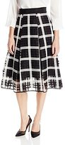 Milly Women's Embroidered Organza Lace Midi Skirt