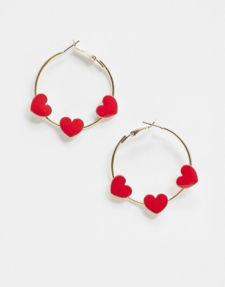 Love Hearts Asos Design ASOS DESIGN hoop earrings with red in gold tone
