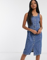 Levi's button denim pinafore dress in mid blue