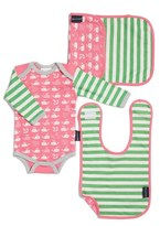 Infant Girl's Bella Tunno Bodysuit, Bib & Burpie Cloth Set