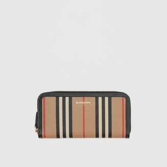 Burberry Icon Stripe E-canvas and Leather Ziparound Wallet