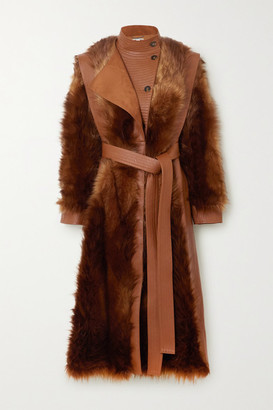 Stella McCartney Belted Vegetarian Leather And Faux Fur Coat - Brown