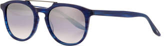 Barton Perreira Men's Rainey Rectangular Top-Bar Sunglasses, Cobalt/Silver