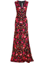 Naeem Khan Full Fitted Flower Embroidered Gown
