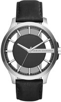 Armani Exchange A|X Men's Black Leather Strap Watch 46mm AX2186