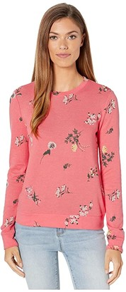 Lucky Brand Tossed Floral Sweatshirt (Tea Rose) Women's Clothing