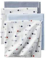 Carter's 4-Pack Sports Flannel Receiving Blankets in White/Blue